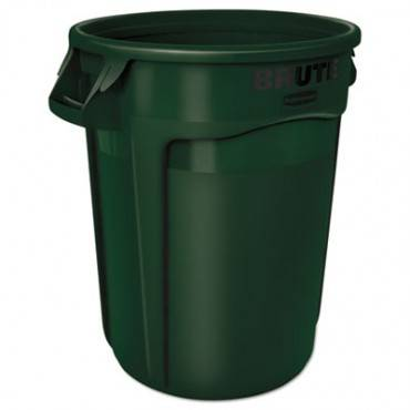 Round Brute Container, Plastic, 32 Gal, Dark Green