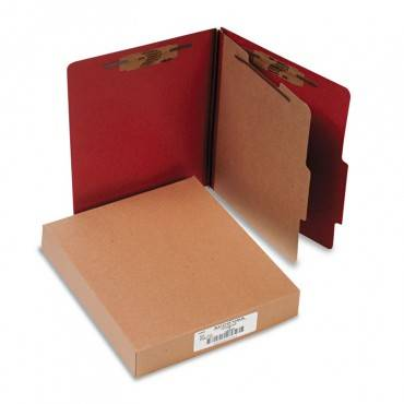 Pressboard Classification Folders, 1 Divider, Letter Size, Earth Red, 10/box