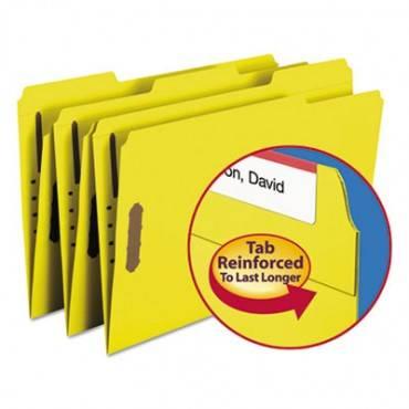 Top Tab Colored 2-fastener Folders, 1/3-cut Tabs, Legal Size, Yellow, 50/box