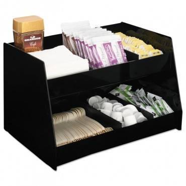 Condiment Organizer, 14 1/3 X 10 1/2 X 9 2/3, 6-compartment, Black