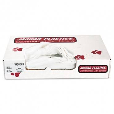 """Industrial Strength Low-density Commercial Can Liners, 60 Gal, 0.9 Mil, 38"""" X 58"""", White, 100/carton"""