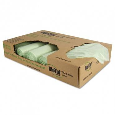 Biotuf Compostable Can Liners, 48 Gal, 1 Mil, 42 X 48, Green, 100/carton