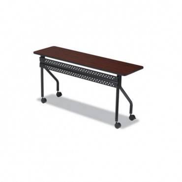 Officeworks Mobile Training Table, Rectangular, 72w X 18d X 29h, Mahogany/black
