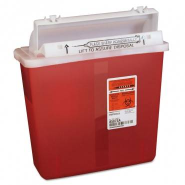 Sharps Containers, Polypropylene, 5 Qt, Red