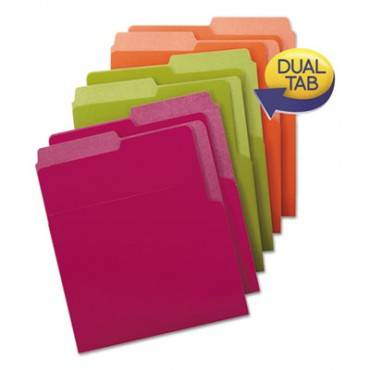 Organized Up Heavyweight Vertical File Folders, 1/2-cut Tabs, Letter Size, Assorted, 6/pack