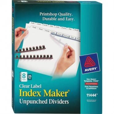 Avery® Index Maker Print & Apply Clear Label Dividers with White Tabs - Unpunched (BX/BOX)