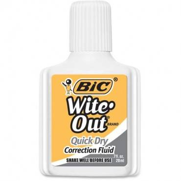 BIC Wite-Out Quick Dry Correction Fluid (PK/PACKAGE)