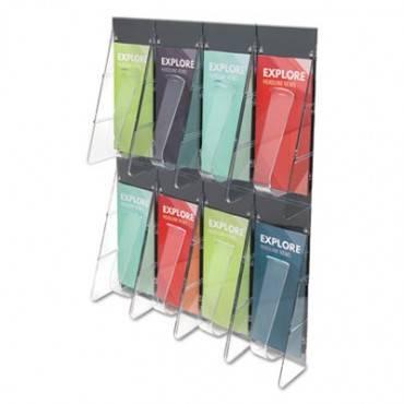 Stand-tall 8-bin Wall-mount Literature Rack, Leaflet, 18.25w X 3.38d X 23.75h, Clear/black