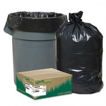 """Linear Low Density Recycled Can Liners, 60 Gal, 1.25 Mil, 38"""" X 58"""", Black, 100/carton"""