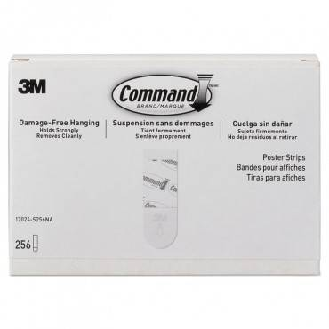 """Command  POSTER STRIPS, REMOVABLE, HOLDS UP TO 1 LB, 5/8"""" X 1 3/4"""", WHITE, 256/PACK 17024S256NA 256 package"""