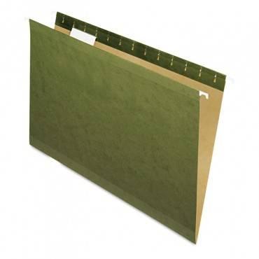 Reinforced Hanging File Folders, Legal Size, 1/5-cut Tab, Standard Green, 25/box