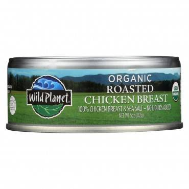 Wild Planet Organic Canned Chicken Breast - Roasted - Case of 12 - 5 oz
