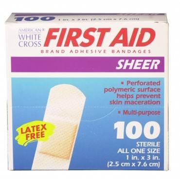 Adhesive Strip Americanâ® White Cross 1 X 3 Inch Plastic Rectangle Sheer Sterile(1200/bx)