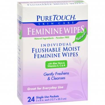 Puretouch Feminine Wipes Flushable - 24 Wipes