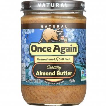 Once Again Almond Butter - Natural - Creamy - Salt Free - 16 oz - case of 12