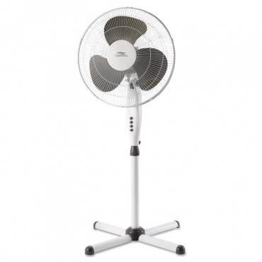 "16"" Three-speed Oscillating Pedestal Fan, Three Speed, Metal/plastic, White"