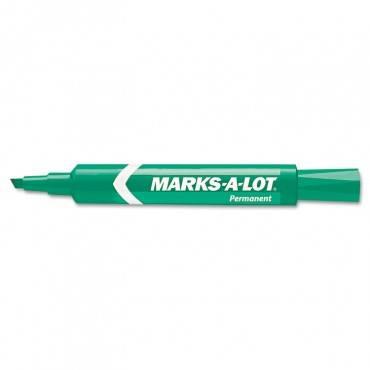 Marks A Lot Regular Desk-style Permanent Marker, Broad Chisel Tip, Green, Dozen