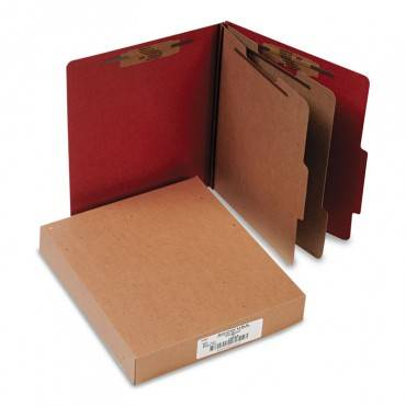 Pressboard Classification Folders, 2 Dividers, Letter Size, Earth Red, 10/box