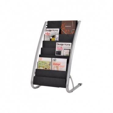 Literature Floor Rack, 16 Pocket, 23w X 19.67d X 36.67h, Silver Gray/black