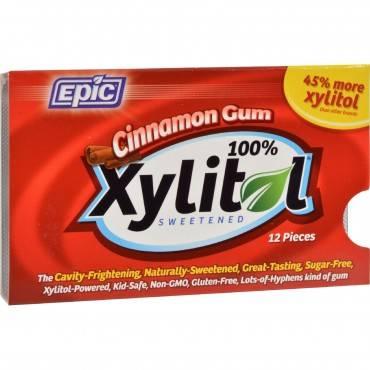Epic Dental - Xylitol Gum - Cinnamon - Case Of 12 - 12 Pack