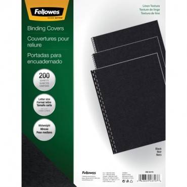 Fellowes Expressions™ Linen Presentation Covers - Letter, Black, 200 pack (PK/PACKAGE)