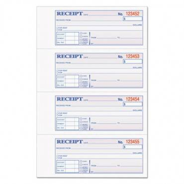Money/rent Receipt Books, 2-3/4 X 7 1/8, Three-part Carbonless, 100 Sets/book