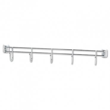 "Hook Bars For Wire Shelving, Five Hooks, 24"" Deep, Silver, 2 Bars/pack"