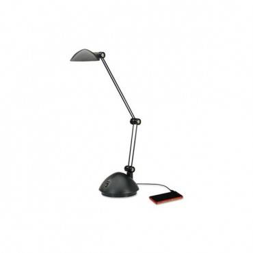 """Twin-arm Task Led Lamp With Usb Port, 18 1/2"""" High, Black"""