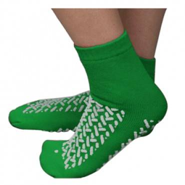 Double Tread Patient Safety Footwear With Terrycloth Exterior, 2x-large, Green Part No. 68123grn (2/package)