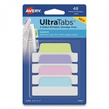 Avery  ULTRA TABS REPOSITIONABLE TABS, 2.5 X 1, ASSORTED PASTEL, 48/PK 74867 48 package