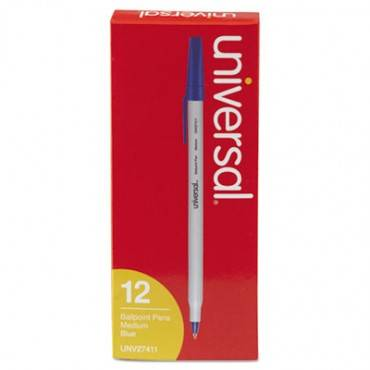 Stick Ballpoint Pen, Medium 1mm, Blue Ink, Gray Barrel, Dozen