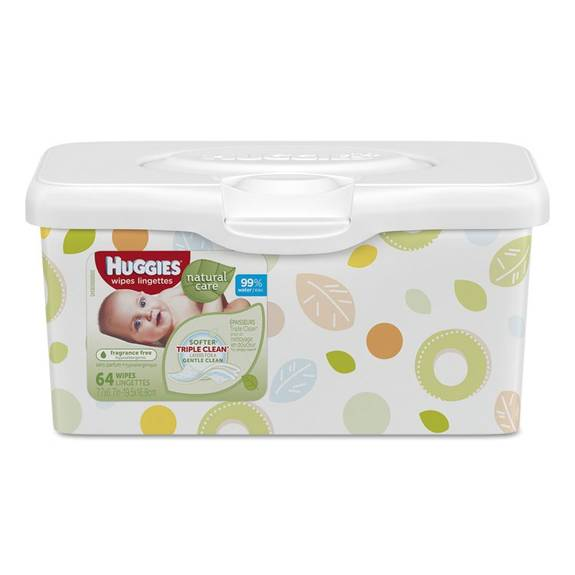 Huggies Natural Care Baby Wipes Unscented White 64 Tub