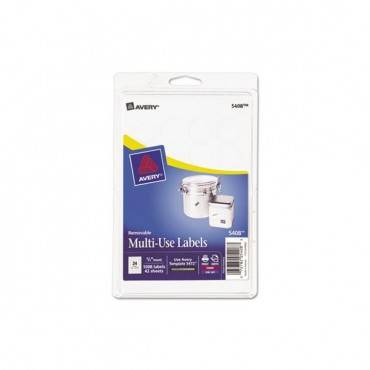 "Removable Multi-use Labels, Inkjet/laser Printers, 0.75"" Dia., White, 24/sheet, 42 Sheets/pack"