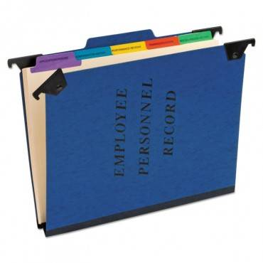Hanging Style Personnel Folders, 1/3-cut Tabs, Center Position, Letter Size, Blue