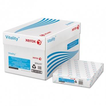 Vitality 30% Recycled Print Paper, 92 Bright, 3-hole, 20lb, 8.5 X 11, White, 500/ream