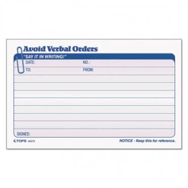 Avoid Verbal Orders Manifold Book, 6 1/4 X 4 1/4, 2-part Carbonless, 50 Sets/bk