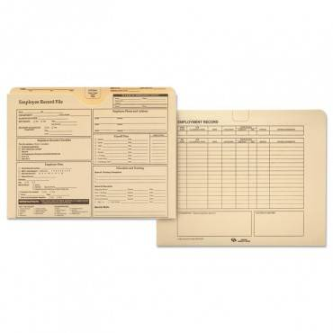 Employee Record Folder, Straight Tab, Letter Size, Manila, 20/pack