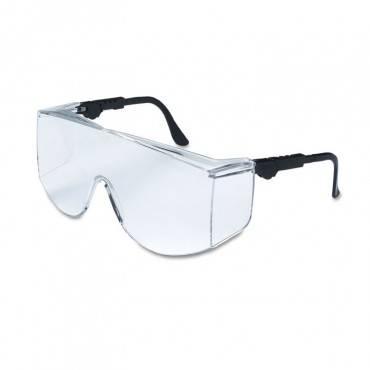 Tacoma Wraparound Safety Glasses, Black Frames, Clear Lenses