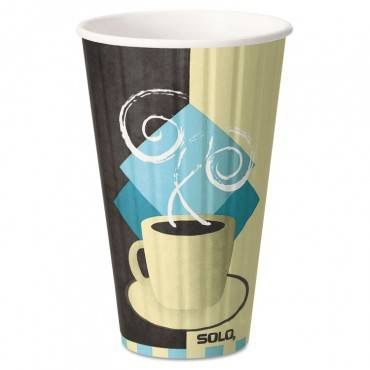 Duo Shield Insulated Paper Hot Cups, 16oz, Tuscan, Chocolate/blue/beige, 35/pk