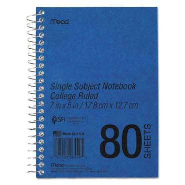 Durapress Cover Notebook, 1 Subject, Medium/college Rule, Blue Cover, 7 X 5, 80 Sheets