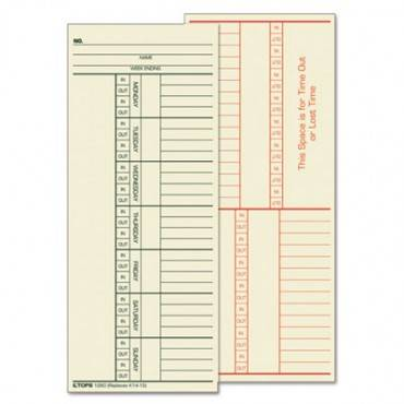Time Card For Cincinnati, Named Days, Two-sided, 3 3/8 X 8 1/4, 500/box