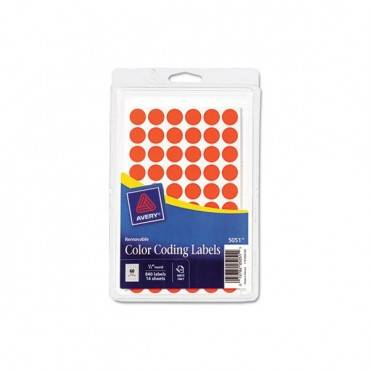 "Handwrite Only Self-adhesive Removable Round Color-coding Labels, 0.5"" Dia., Neon Red, 60/sheet, 14 Sheets/pack"