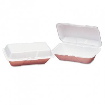 Foam Hoagie Hinged Container, Large, White, 9-1/2x5-1/4x3-1/2, 100/bag