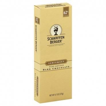 Scharffen Berger Semisweet 62 Percent Cacao Fine Artisan Dark Chocolate Bar - Case Of 6 - 9.7 Oz.