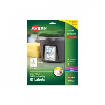 Easy Align Self-laminating Id Labels, Laser/inkjet, 3 1/2 X 4 1/2, White, 50/pk