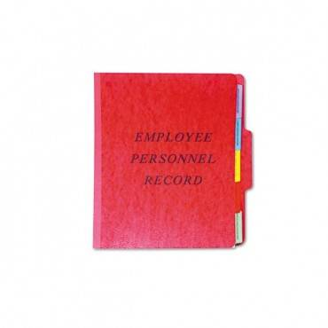 Vertical Style Personnel Folders, 1/3-cut Tabs, Center Position, Letter Size, Red