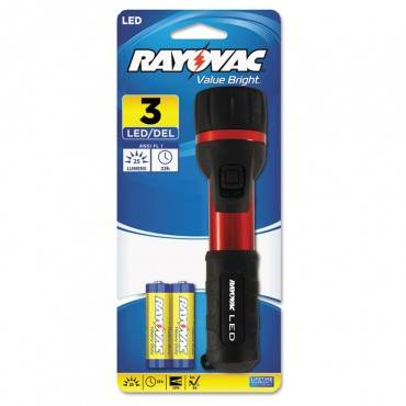 Flashlight, Rubber & Aluminum, 3 V, Led, Red/black, 2 Aa