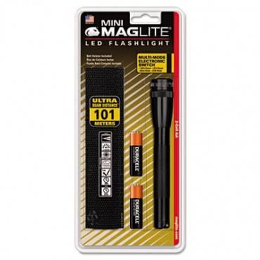 Mini Led Flashlight, 2 Aa Batteries (included), Black