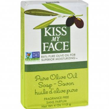 Kiss My Face Bar Soap Pure Olive Oil Fragrance Free - 4 Oz