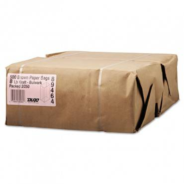"Grocery Paper Bags, 57 Lbs Capacity, #8, 6.13""w X 4.17""d X 12.44""h, Kraft, 500 Bags"